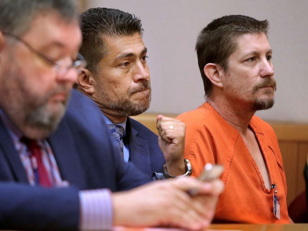 PHOTO: In a Aug. 23, 2018 file photo, Michael Drejka sits in court during a bond hearing at the Pinellas County Justice Center in Clearwater, Fla.