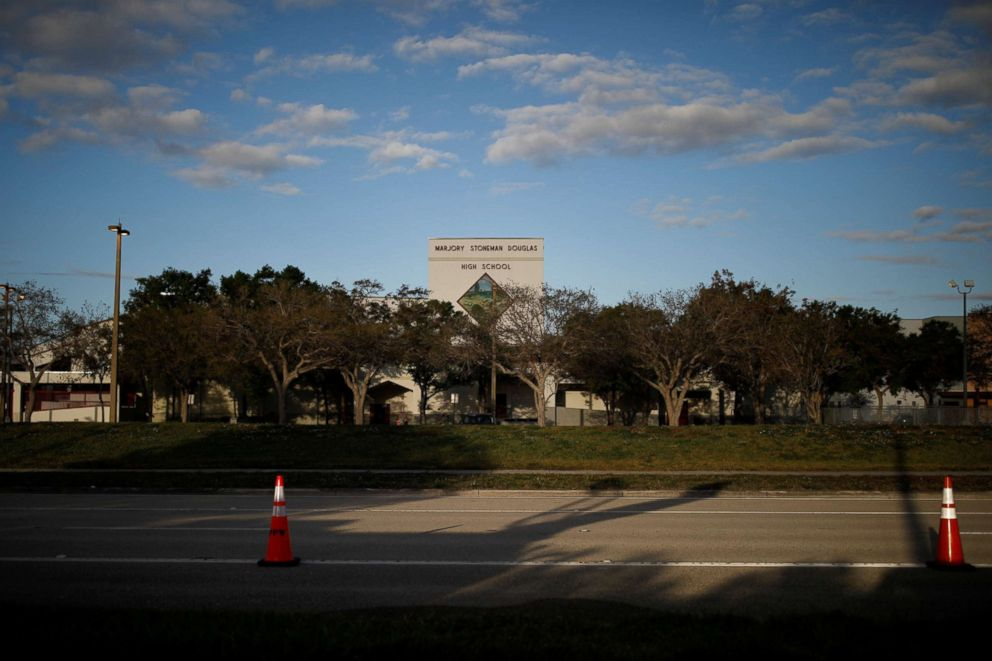 PHOTO: The entrance to Marjory Stoneman Douglas High School is seen after the police security perimeter was removed, following a mass shooting in Parkland, Florida, Feb. 18, 2018.