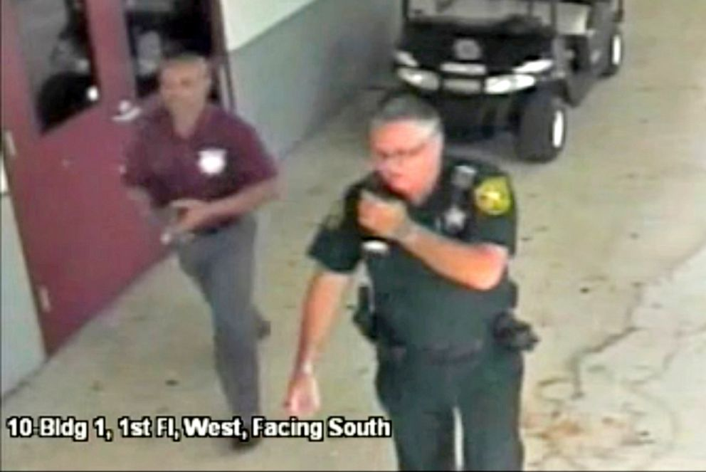 PHOTO: Then-Broward County Sheriffs Deputy Scot Peterson, who was assigned to Marjory Stoneman Douglas High School during the Feb. 14, 2018, shooting, is seen in this still image captured from the school surveillance video.