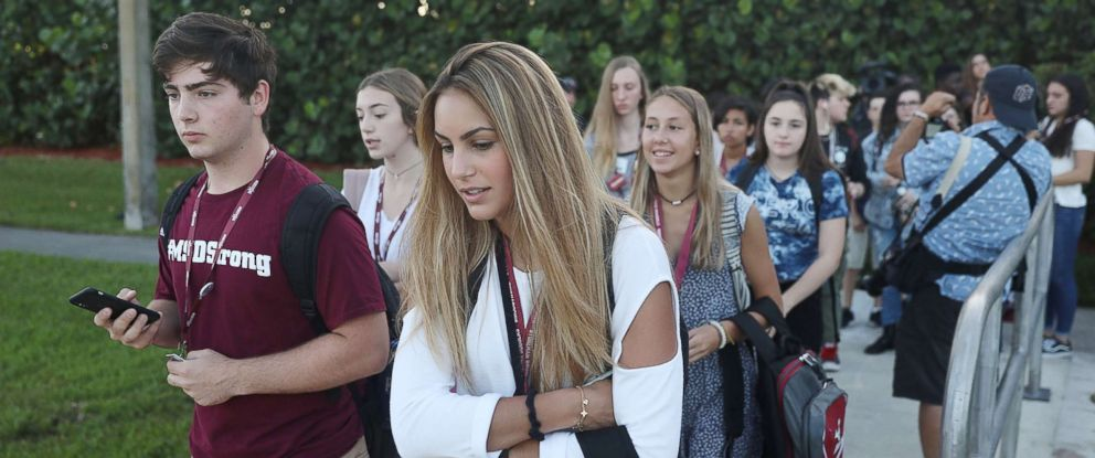 PHOTO: Students walk to Marjory Stoneman Douglas High School on the first day of school on Aug. 15, 2018 in Parkland, Fla.