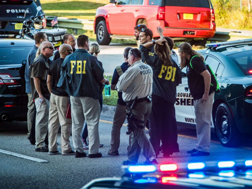 PHOTO: The FBI and police agencies from surrounding counties responded to a mass shooting at Marjory Stoneman Douglas High in Parkland, Fla., Feb. 14, 2018.  'It was my job, and I didn't find him,' former deputy says of Parkland mass shooting parkland shooting FBI3 rex hb 180227 4x3 992