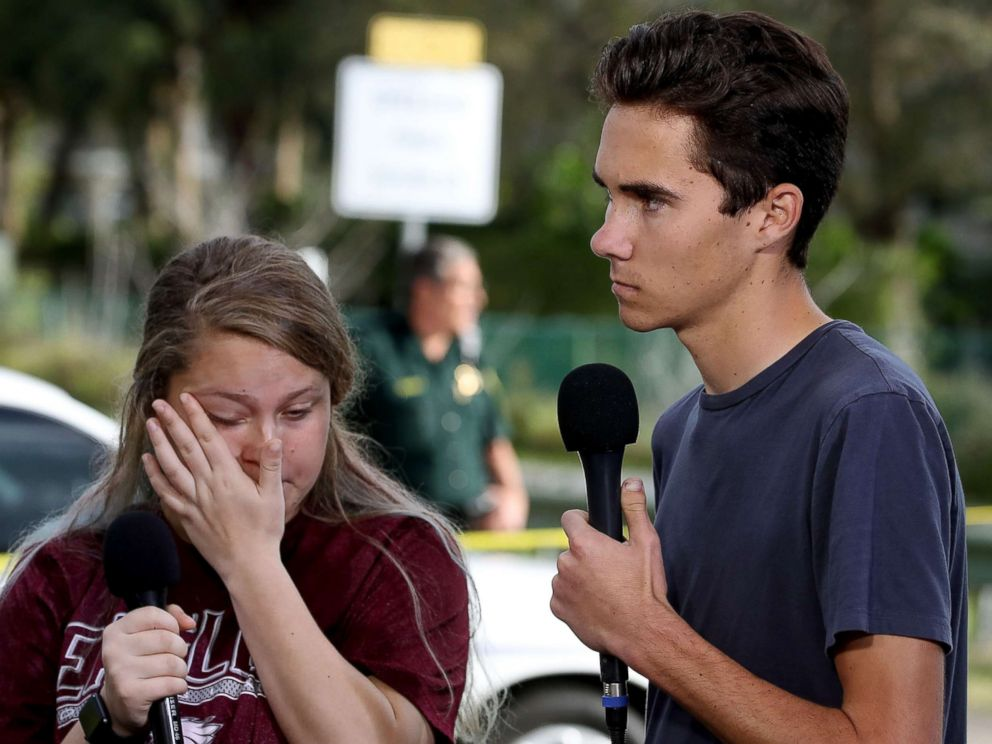 PHOTO: Students Kelsey Friend and David Hogg recount their stories about yesterdays mass shooting at the Marjory Stoneman Douglas High School, Feb. 15, 2018.