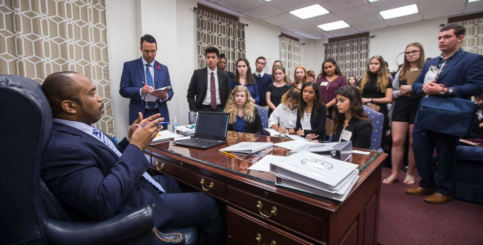 PHOTO: Sen. Bobby Powell talks with survivors from Marjory Stoneman Douglas High School and other students from Broward County, Fla. high schools in his office at the Florida Capital in Tallahassee, Fla., Feb 20, 2018.