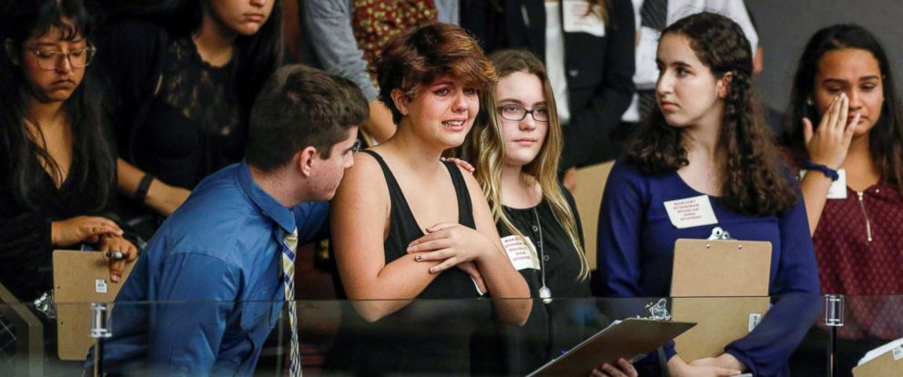 PHOTO: Students from Marjory Stoneman Douglas High School react as they watch the Florida House of Representatives vote down a procedural move to take a bill banning assault weapons, Feb. 20, 2018, in Tallahassee, Fla.