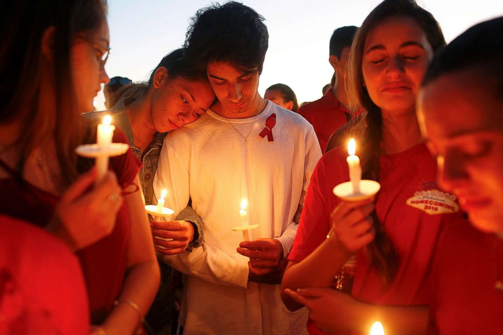PHOTO: Students gather during a vigil at Pine Trails Park for the victims of the shooting at Marjory Stoneman Douglas High School in Parkland, Fla., Feb. 15, 2018.