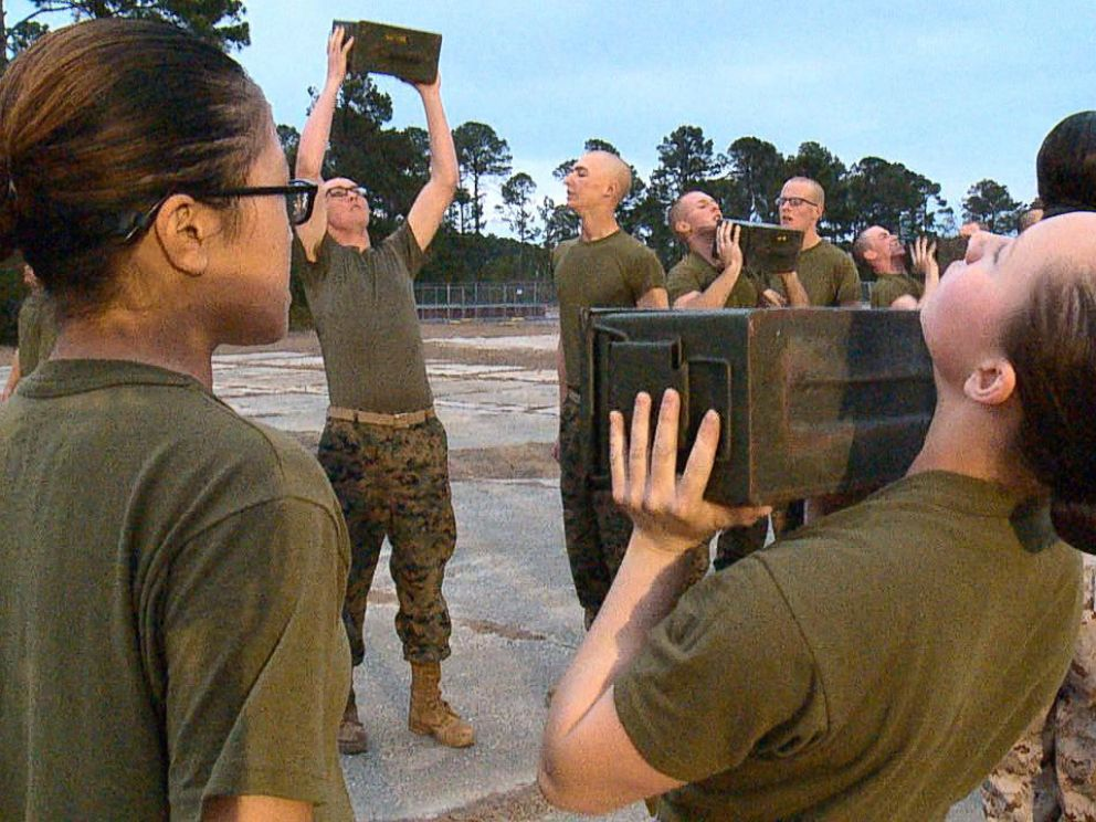PHOTO: Male and female Marine recruits train at Marine Corps Recruit Depot Parris Island in South Carolina, Feb. 2, 2018.