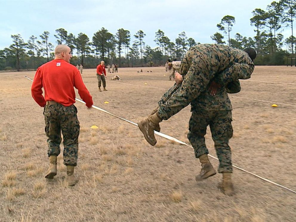 PHOTO: Recruits train at Marine Corps Recruit Depot Parris Island in South Carolina, Feb. 2, 2018.