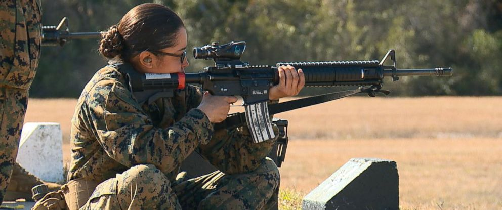 PHOTO: A woman trains at Marine Corps Recruit Depot Parris Island in South Carolina, Feb. 1, 2018.