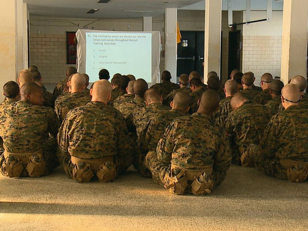 PHOTO: Recruits watch a presentation at Marine Corps Recruit Depot Parris Island in South Carolina, Feb. 1, 2018.
