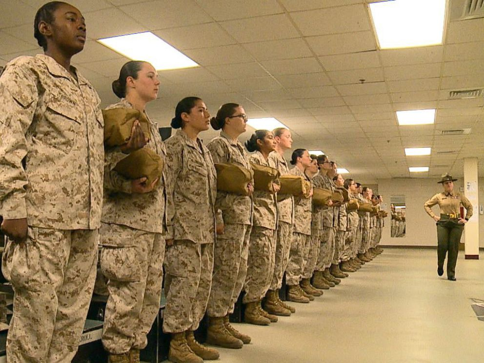 PHOTO: Female recruits stand at attention in a barracks at Marine Corps Recruit Depot Parris Island in South Carolina, Feb. 2, 2018.