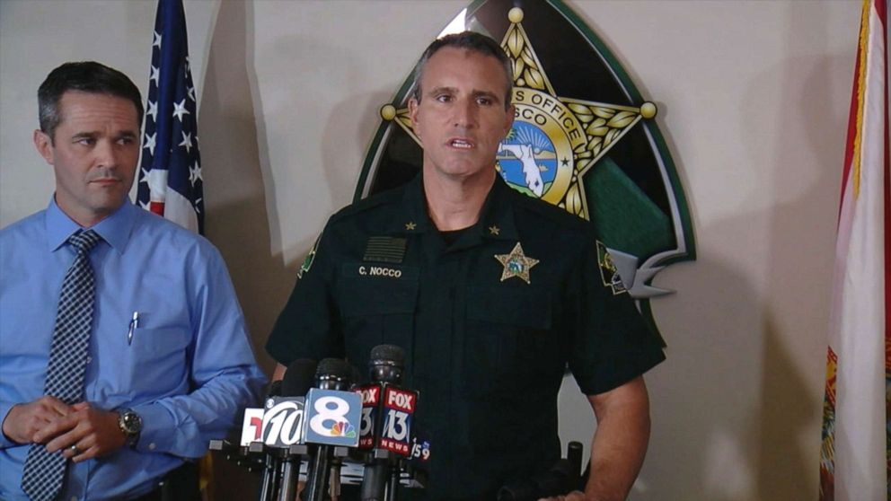 PHOTO: Pasco County Sheriff Chris Nocco speaks to the press after a domestic violence incident in Pasco, County, Fla., where a neighbor helped free the victims children from a dangerous scene, Aug. 21, 2019.