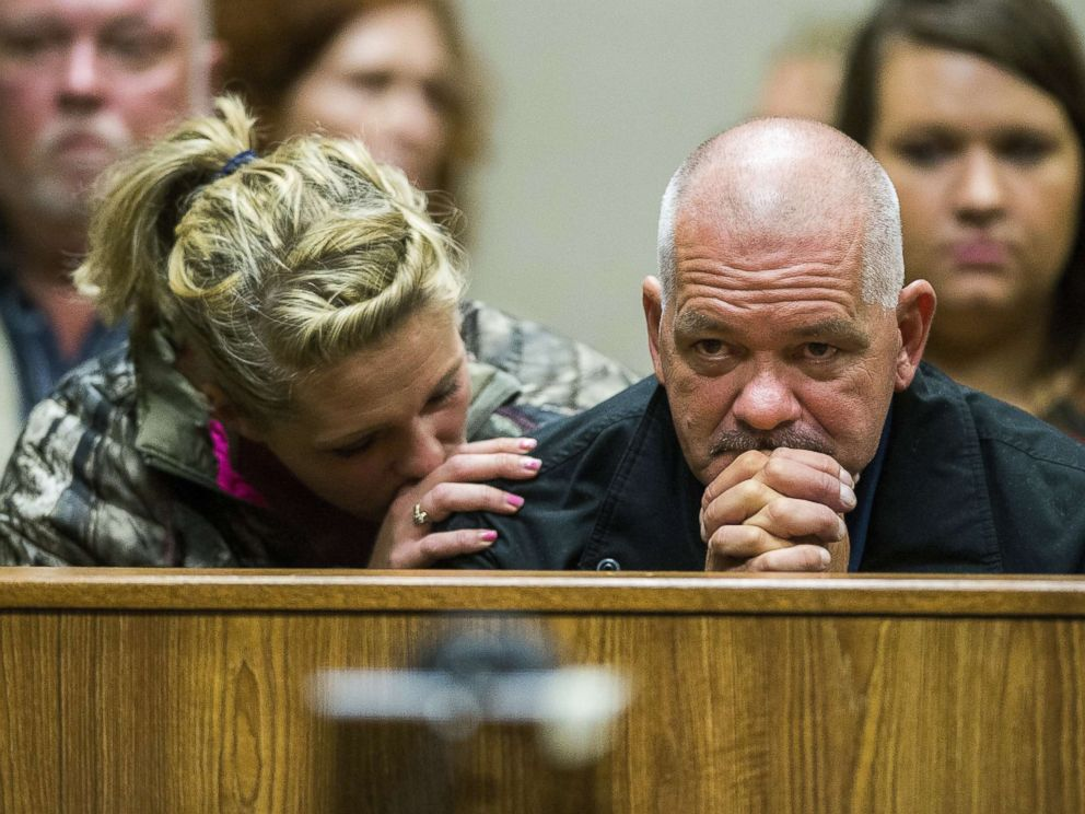 PHOTO: Family of Ken White, who was killed when a rock was thrown from an overpass on Interstate 75, listen as the alleged perpetrators are arraigned on Tuesday, Oct. 24, 2017, in Genesee County District Court in downtown Flint, Mich.