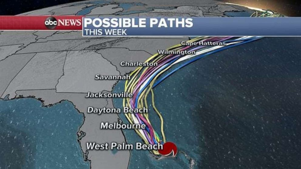 PHOTO: Hurricane Dorian possible paths, Sept. 2, 2019.