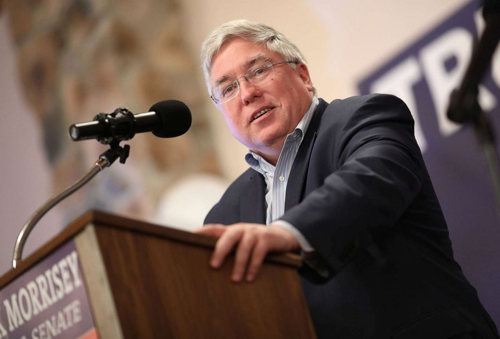 PHOTO: In this October 22, 2018, file photo, Patrick Morrisey speaks at a campaign event in Inwood, W. Va.