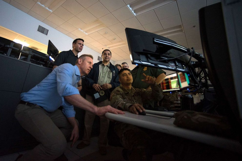 PHOTO: U.S. Acting Secretary of Defense Patrick M. Shanahan and Acting Secretary of Homeland Security Kevin McAleenan visit soldiers deployed to support the McAllen Border Patrol Station in McAllen, Texas, May 11, 2019.