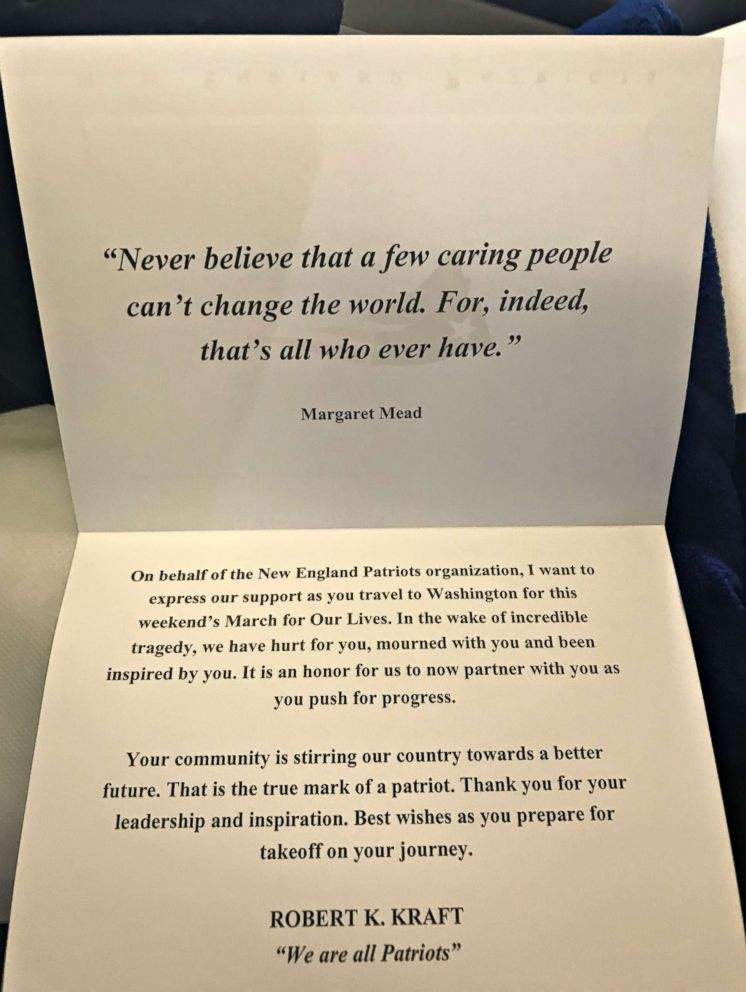 PHOTO: Each seat on the New England Patriots team plane felt like first class and had a gift as well as a letter from Patriots owner Robert Kraft, parent Meredith Barry told ABC News.