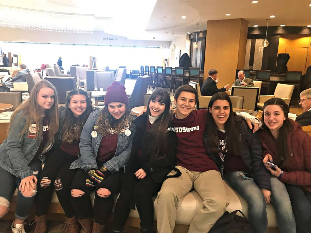 PHOTO: Marjory Stoneman Douglas High School students traveled to Washington, D.C. on the New England Patriots team plane, which was loaned to them for March For Our Lives, March 22, 2018.