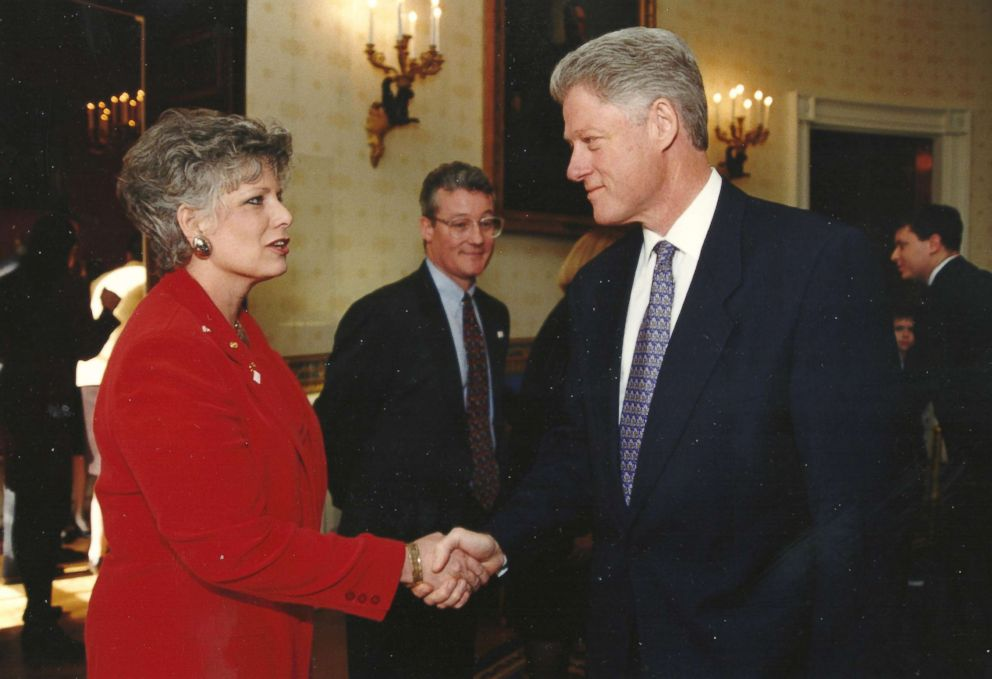 PHOTO: Karolyn Nunnallee, pictured here with then-President Bill Clinton, channeled her grief into activism, going on to serve as the national president of Mothers Against Drunk Driving.