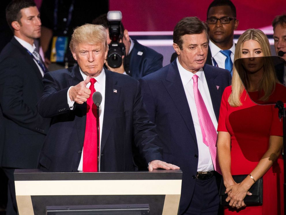 PHOTO: Donald Trump, flanked by campaign manager Paul Manafort and daughter Ivanka, checks the podium in preparation for accepting the GOP nomination to be President at the 2016 Republican National Convention in Cleveland, July 20, 2016.