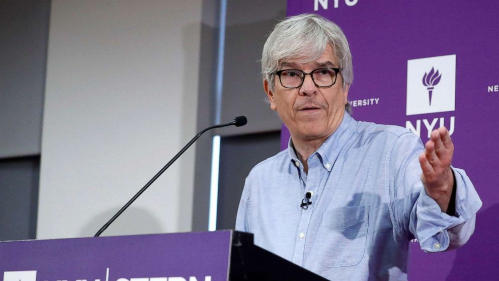 Paul M. Romer of the NYU Stern School of Business who has been awarded the 2018 Nobel Prize in Economic Sciences 'for integrating technological innovations into long-run macroeconomic analysis' addresses the media in New York City, Oct. 8, 2018.