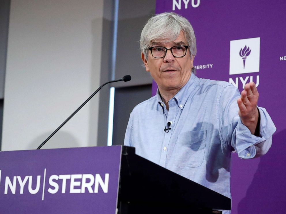 PHOTO: Paul M. Romer of the NYU Stern School of Business who has been awarded the 2018 Nobel Prize in Economic Sciences for integrating technological innovations into long-run macroeconomic analysis addresses the media in New York City, Oct. 8, 2018.