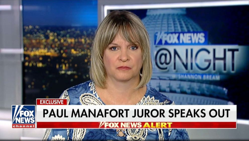 PHOTO: Paula Duncan, a juror on the Paul Manafort trial appears on Fox News, Aug. 22, 2018.