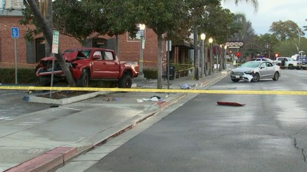 Nine pedestrians were struck by a driver under the influence in downtown Fullerton, Calif., Feb. 10, 2019.