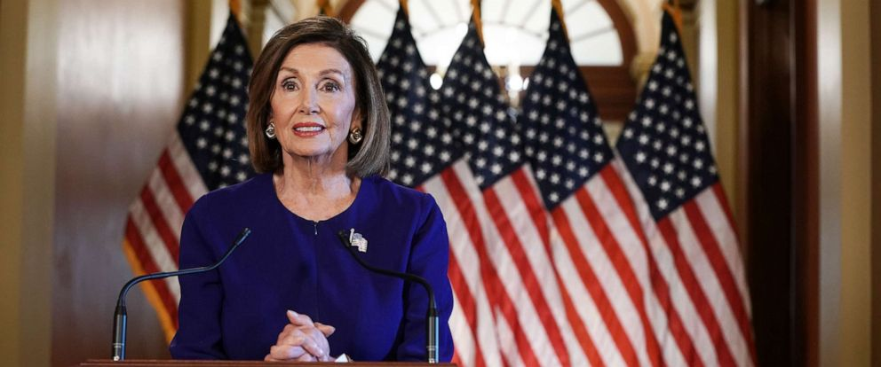 PHOTO: House Speaker Nancy Pelosi speaks to the media at the Capitol Building September 24, 2019, in Washington, D.C.