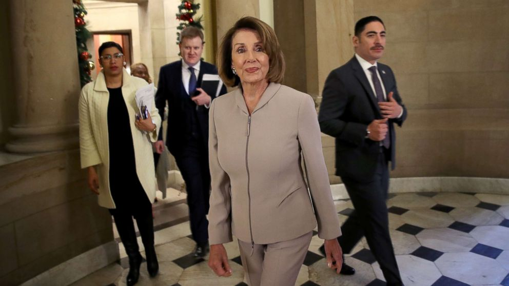 House Minority Leader Nancy Pelosi (D-CA) walks to an interview at the Capitol, Jan. 2, 2019.