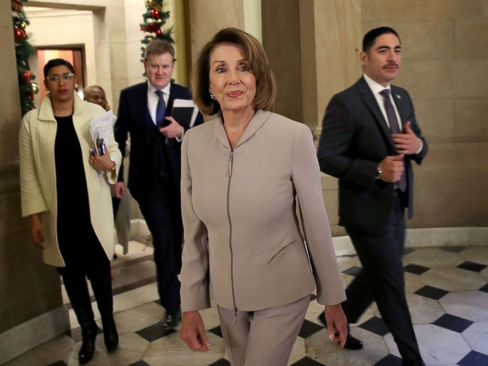PHOTO: House Minority Leader Nancy Pelosi (D-CA) walks to an interview at the Capitol, Jan. 2, 2019.