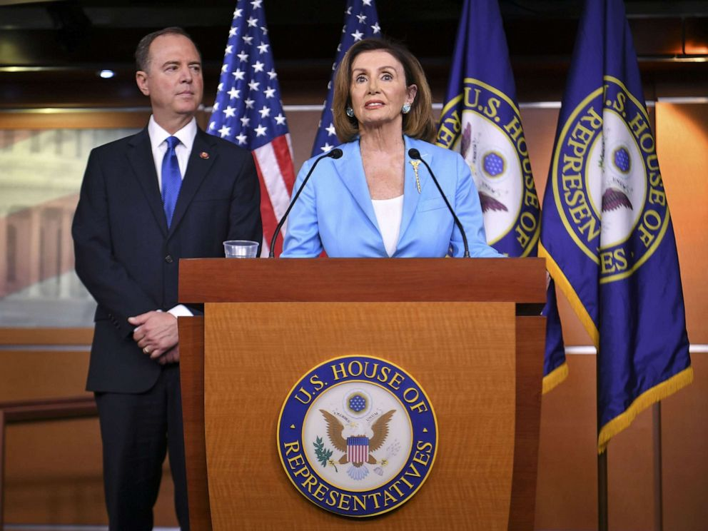 PHOTO: House Speaker Nancy Pelosi and House Intelligence Committee Chair Adam Schiff, speak during a press conference in the House Studio of the US Capitol in Washington, DC on October 2, 2019.