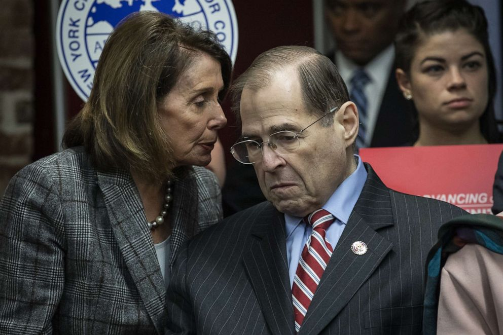 PHOTO: Speaker of the House Nancy Pelosi (D-CA) speaks with House Judiciary Committee Chairman Rep. Jerrold Nadler (D-NY) during a press conference to discuss the American Dream and Promise Act, March 20, 2019, in New York.