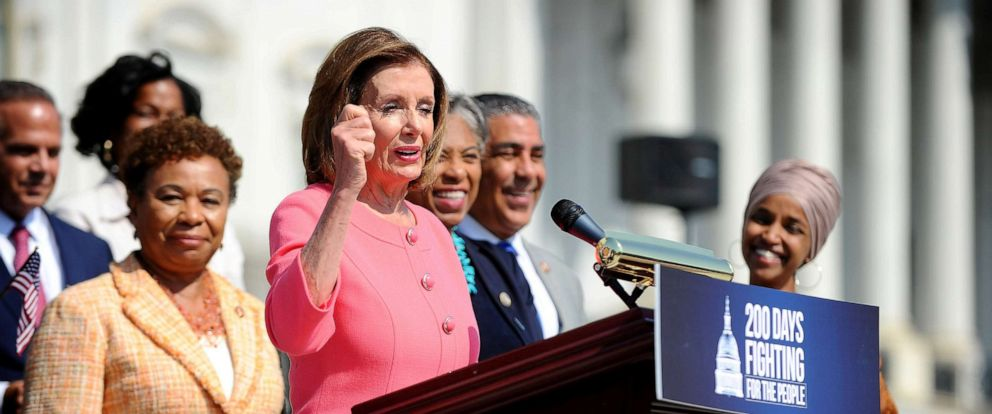 PHOTO: Speaker of the House Nancy Pelosi holds a press event on the first 200 days of the 116th Congress at the Capitol in Washington, D.C., July 25, 2019.