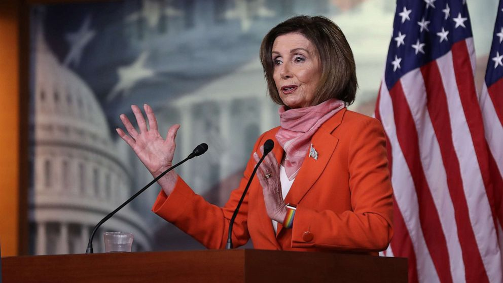 Speaker of the House Nancy Pelosi holds her weekly news conference during the novel coronavirus pandemic at the Capitol, April 24, 2020 in Washington, D.C.Chip Somodevilla/Getty Images