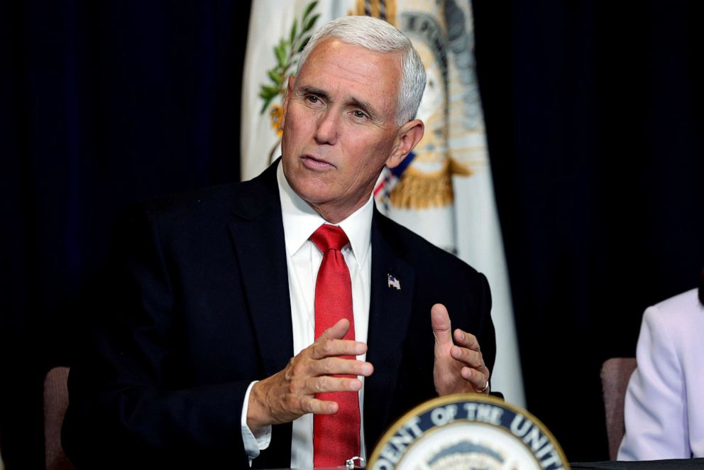 PHOTO: Vice President Mike Pence speaks during a Southwest Hispanic Leaders roundtable in honor of Hispanic Heritage Month, Oct. 3, 2019, in Scottsdale, Ariz.