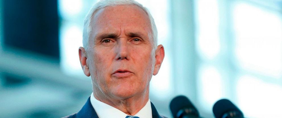 PHOTO: Vice President Mike Pence speaks at a press conference, June 18, 2019 in Miami.