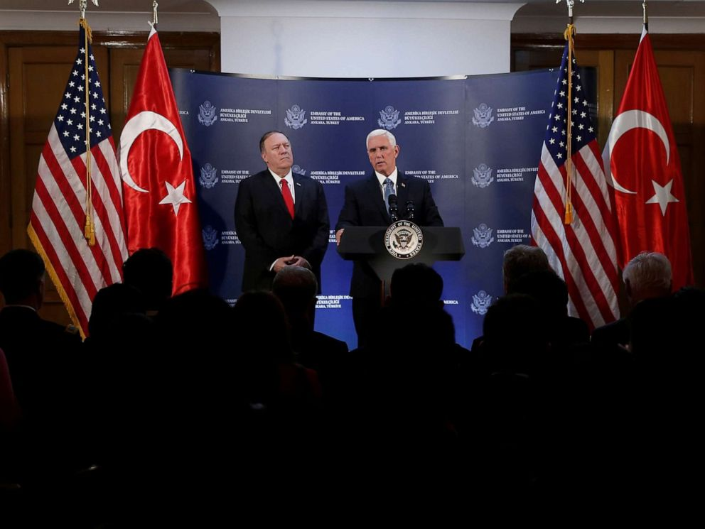 PHOTO: Vice President Mike Pence speaks during a news conference, as Secretary of State Mike Pompeo looks on, at the U.S. Embassy in Ankara, Turkey, Oct. 17, 2019.
