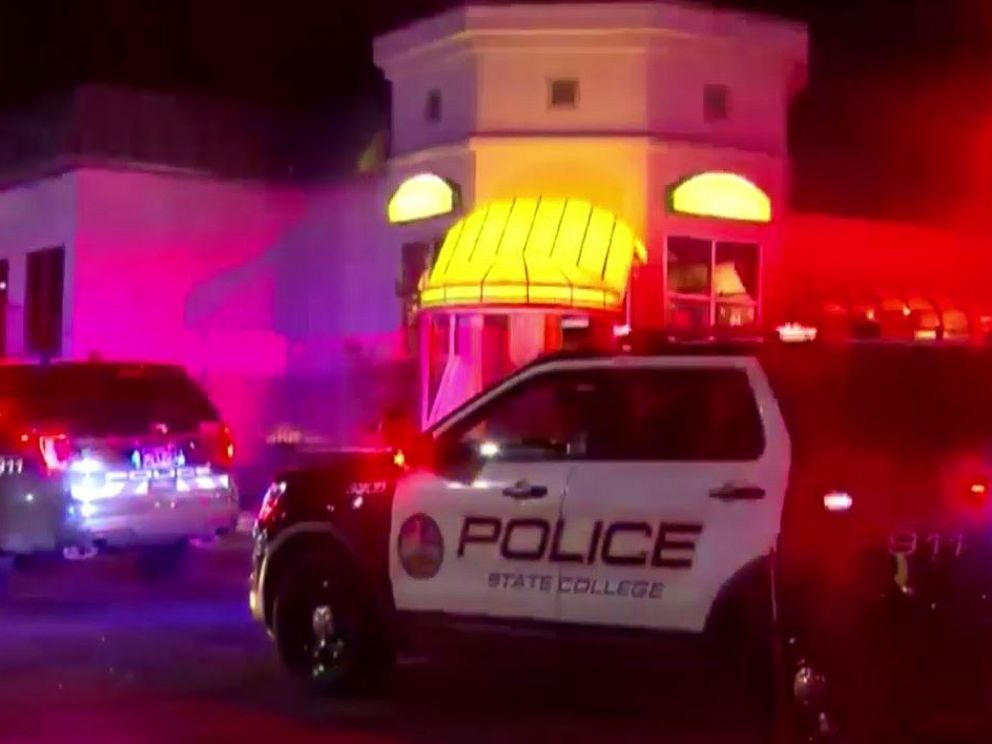 PHOTO: State College police respond to a shooting outside PJ Harrigans Bar & Grill in State College, Pa., on Thursday, Jan. 24, 2019.