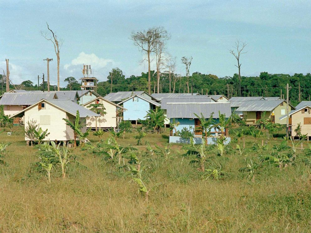 PHOTO: The cabins for members of the Peoples Temple cult are seen in Jonestown, Guyana, 1978.