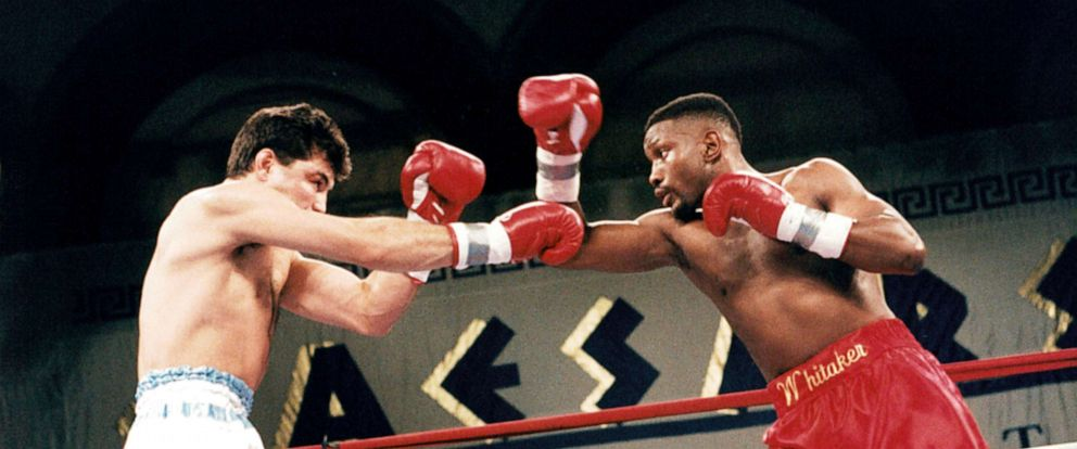 PHOTO: Pernell Whitaker (R) throws a right punch against Julio Cesar Vasquez during the fight at the Convention Center, on March 4,1995, in Atlantic City, New Jersey. Pernell Whitaker won the WBA World light middleweight title by a UD 12.