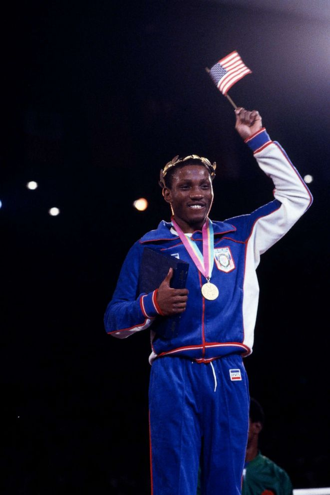PHOTO: In this file photo, Pernell Whitaker is shown at the Mens boxing medal ceremony of the 1984 Summer Olympics.