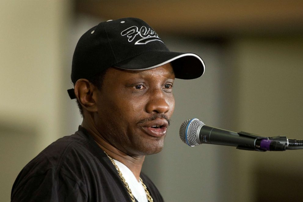 PHOTO: In this file photo, Pernell Sweet Pea Whitaker, head trainer for IBF junior welterweight champion Zab Judah of New York, speaks during a news conference at the Mandalay Bay Events Center in Las Vegas, Nevada July 21, 2011.