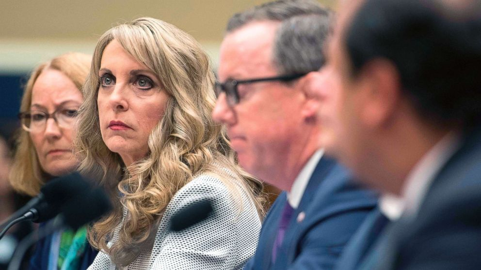 """President and CEO of USA Gymnastics Kerry Perry testifies before the House Energy and Commerce Oversight and Investigations Subcommittee hearing on """"Examining the Olympic Community's Ability to Protect Athletes from Sexual Abuse"""" in Washington, D.C.,  May 23, 2018."""