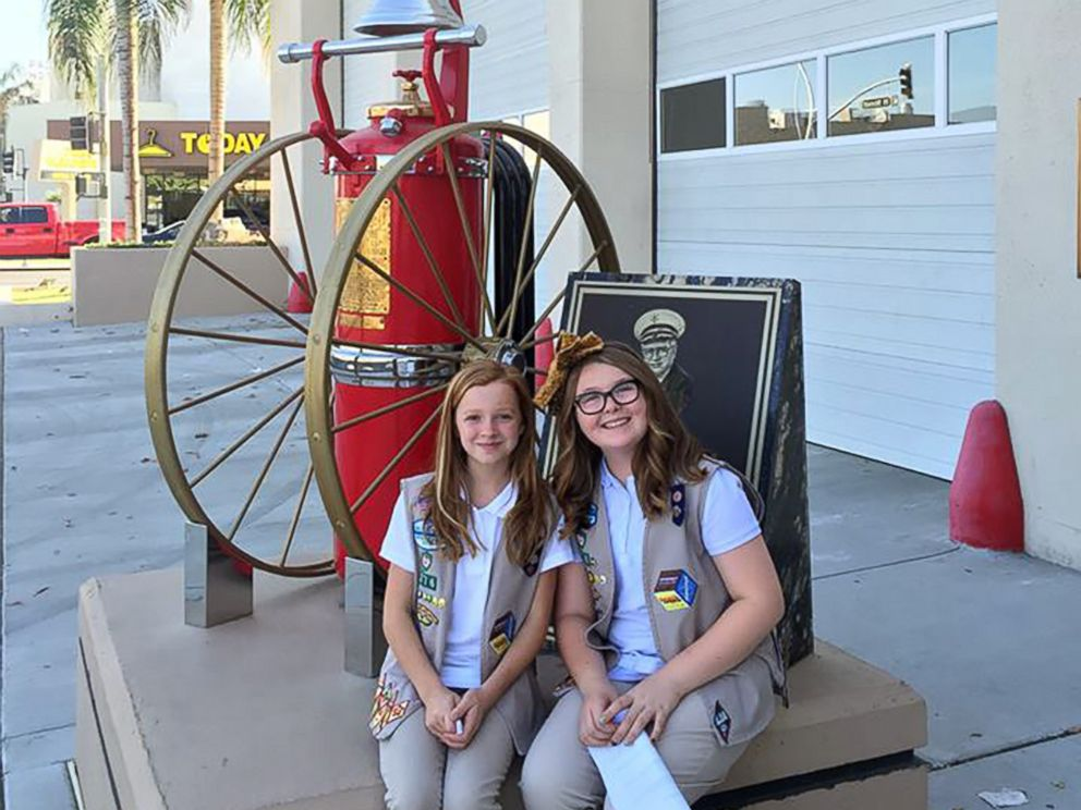PHOTO: Girl Scouts Kylie Greene and Hailey Amos of Central California South Council Troop No. 376 raised money to get pet mask kits on every Bakersfield fire engine. The project got them the silver award in Girl Scouts.