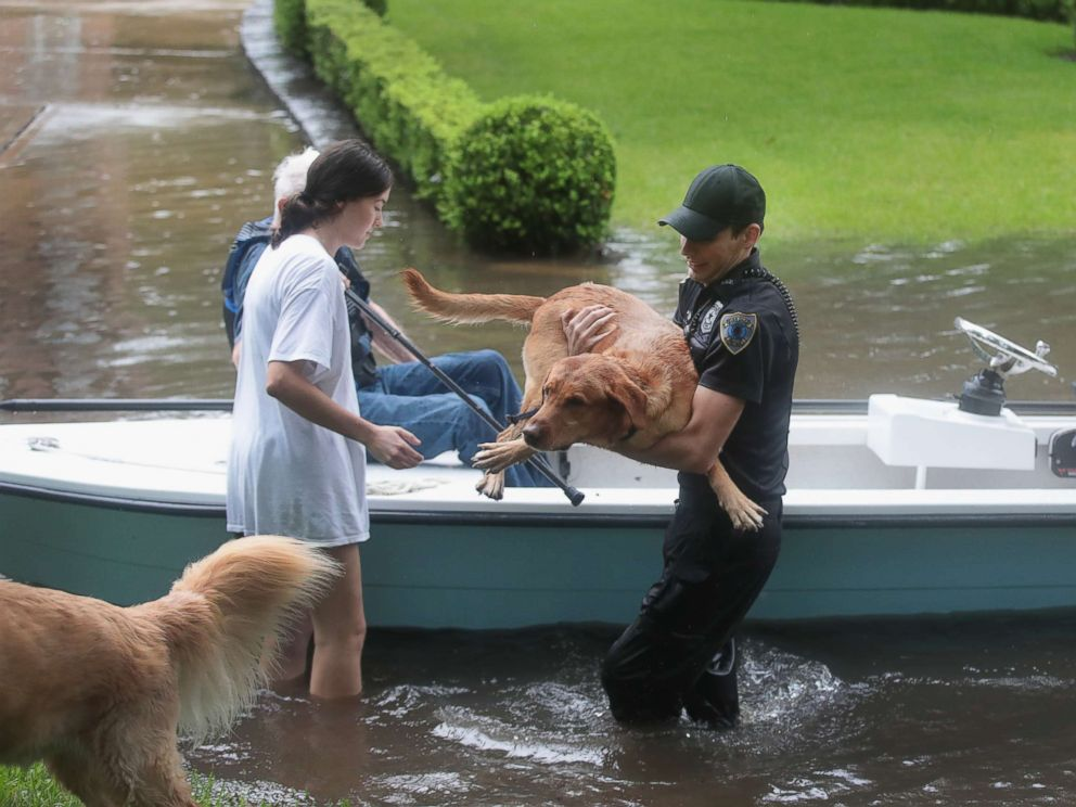 PHOTO: Volunteers and officers from the neighborhood security patrol help to rescue residents and their dogs in the upscale River Oaks neighborhood after it was inundated with flooding from Hurricane Harvey, Aug. 27, 2017, in Houston.