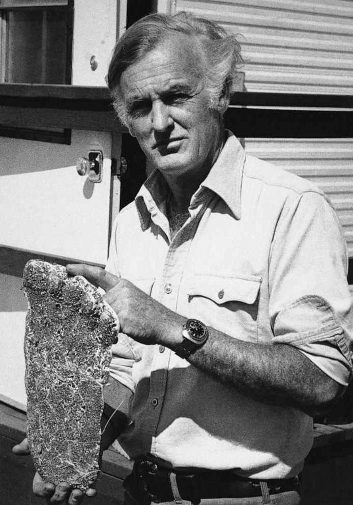 PHOTO: Peter Byrne holds a plaster cast of what he said may be a Bigfoot footprint at his information center at The Dalles, Ore. on Oct 30, 1975.
