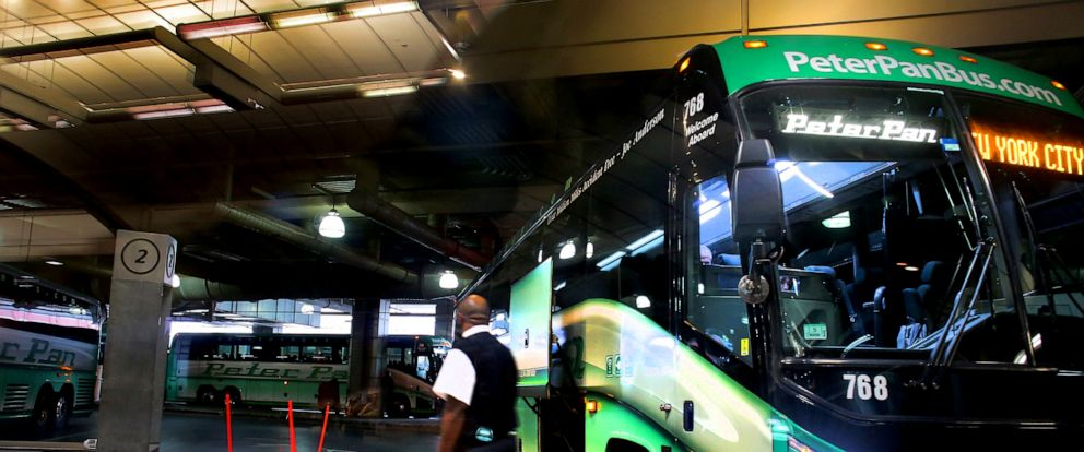 PHOTO: A Peter Pan bus awaits a departure to New York at the South Station bus terminal in Boston, Nov. 1, 2017.