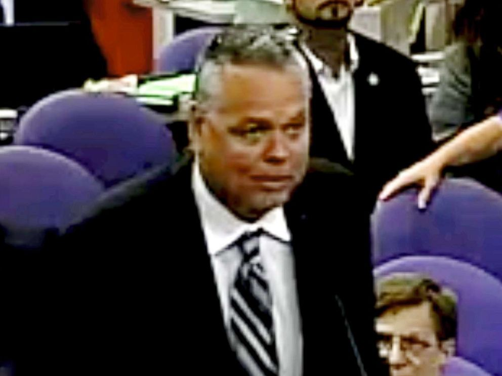 PHOTO: This Feb. 18, 2015 image taken from video provided by Broward County Public Schools shows school resource officer Scot Peterson during a school board meeting of Broward County, Fla.  'It was my job, and I didn't find him,' former deputy says of Parkland mass shooting peterson ap er 180223 4x3 992