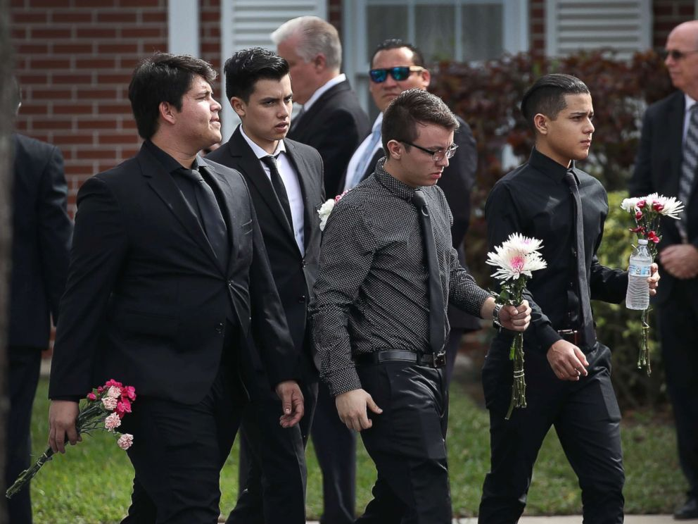 PHOTO: Mourners arrive for the funeral of Alaina Petty at The Church of Jesus Christ of Latter-day Saints, Feb. 19, 2018, in Coral Springs, Fla.