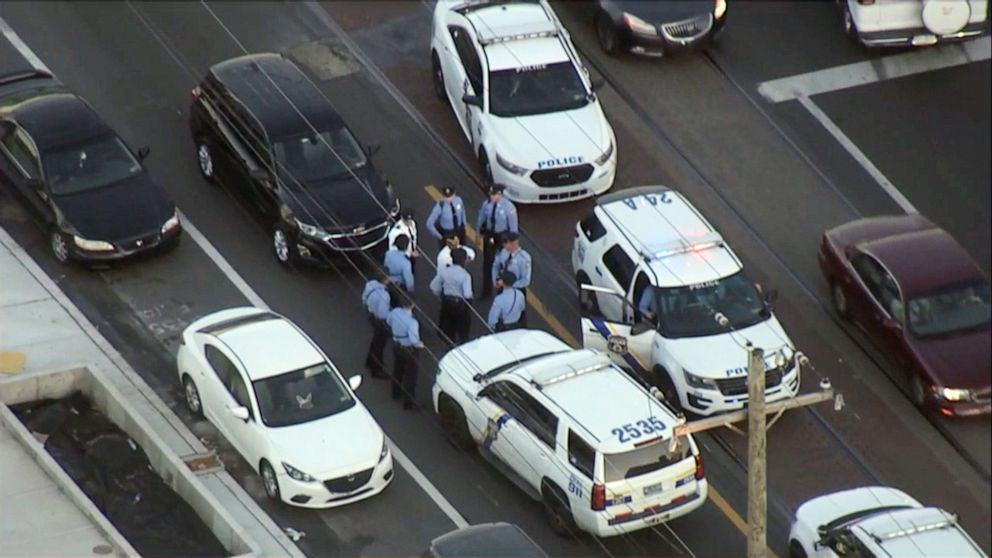 PHOTO: Police gather after a 10-year-old boy was shot in the back of the head in Philadelphia, Nov. 6, 2019.